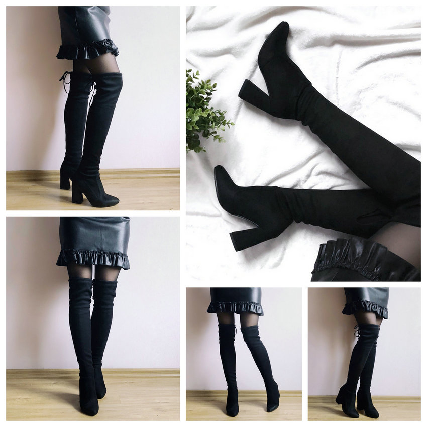 Flock Leather Over The Knee Boots Lace Up Sexy High Heels Autumn Winter Women Shoes 16