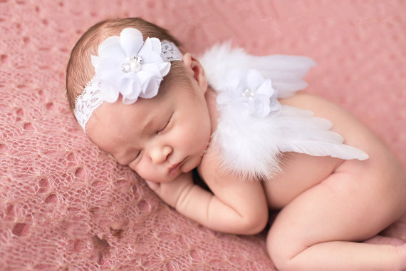 Lace dreams mini white angel wings matching headband set newborn photo prop baby angel feather wings 1 set in hair accessories from mother kids on