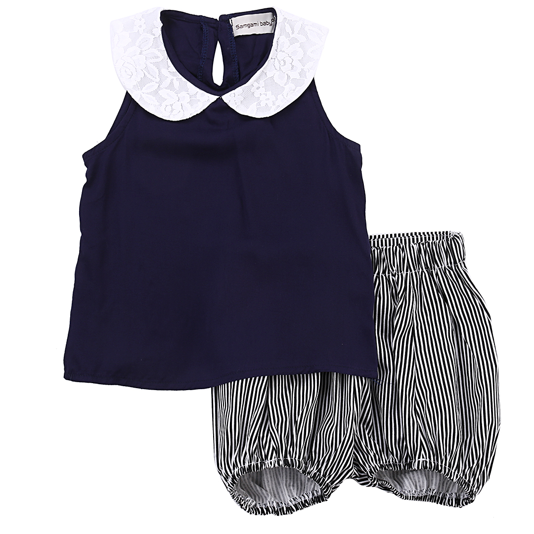 Mother & Kids 2pcs Set Toddler Kids Girl Beach Outfits Girls Summer Outfits Turn-down Collar Clothes T-shirt Vest Tops+striped Shorts Pants Clear-Cut Texture