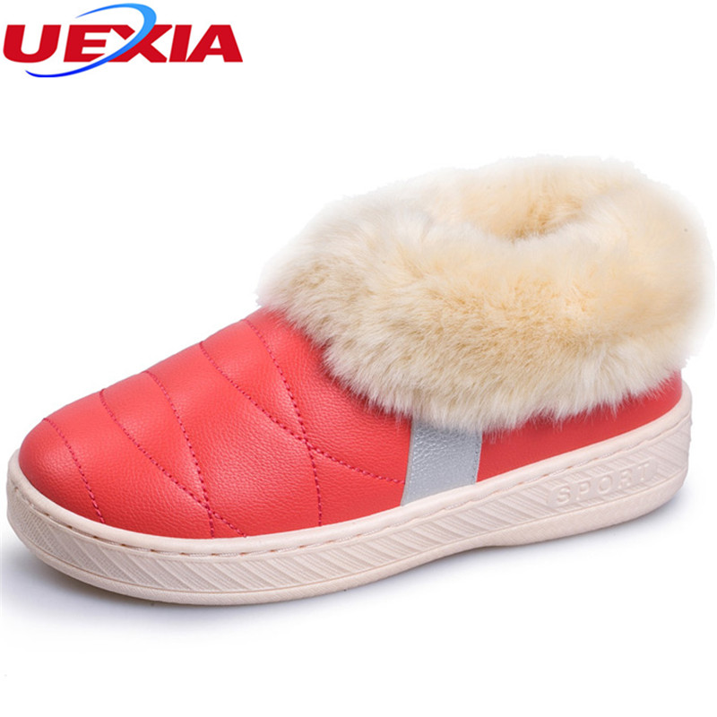 UEXIA Winter Women Flats Warm Fur Plush Comfort Cotton Shoes Woman Loafers Slip On Cute Indoor Warm Furry Comfortable Moccasins jingkubu 2017 autumn winter women ballet flats simple sewing warm fur comfort cotton shoes woman loafers slip on size 35 40 w329