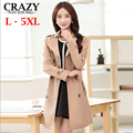 New 2017 Fall L- 4XL 5XL Plus Size Women Clothing Fashion Middle Long Slim Trench Coat Autumn Female Large Size Outerwear Coats