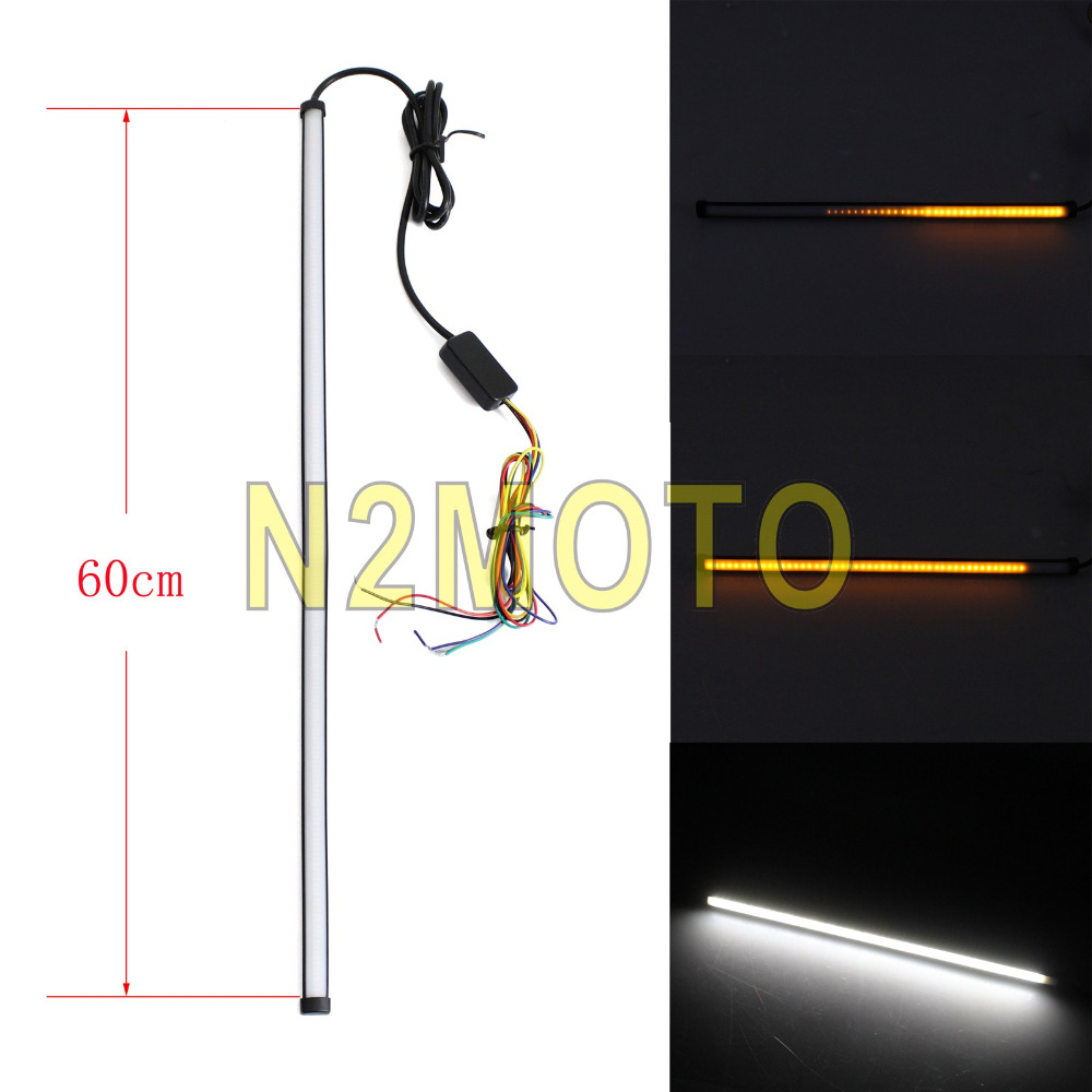 60mm LED Strips Sequential Flowing White Amber Brake Light