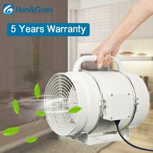 Hon&Guan 8 inch 200mm in-line Duct Fan Portable Mixed Flow Extractor with Handle, 123W 128W, IP44, 110V 220V