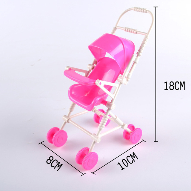 Hot 1 PCS Assembléia rosa Carrinhos de Bebê Carrinho de Carrinho De Criança Mobília Do Berçário Brinquedos para Barbie Boneca de Natal presente de aniversário