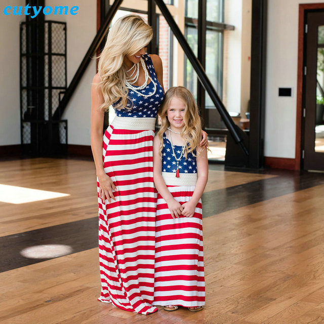 8e4d9e3e214b Matching Mother And Daughter Dresses Clothes Stripe Patchwork Mommy And Me  Clothes Sleeveless Mom Daughter Family Look Outfits