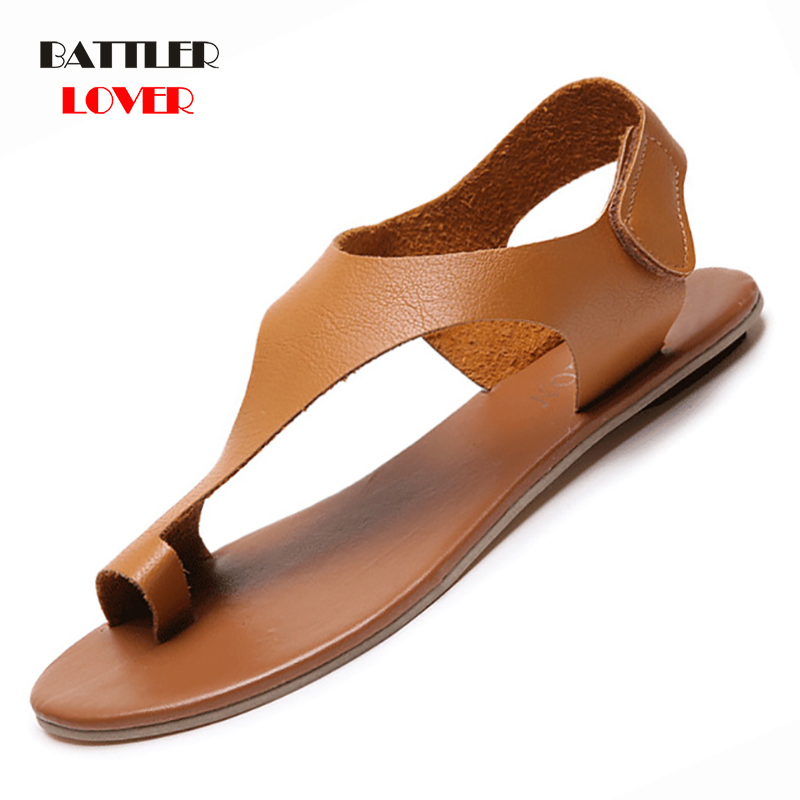 2019 Genuine Leather Shoes Women Ethnic Bohemian Summer Shoe Women Pompon Sandals Gladiator Roman Shoes Mujer Womens Flat Sandal