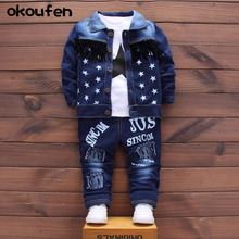 okoufen 2017 baby boy body suit quality 3 pieces in 1 kids denim clothing sets spring and autumn children  cowboy suit