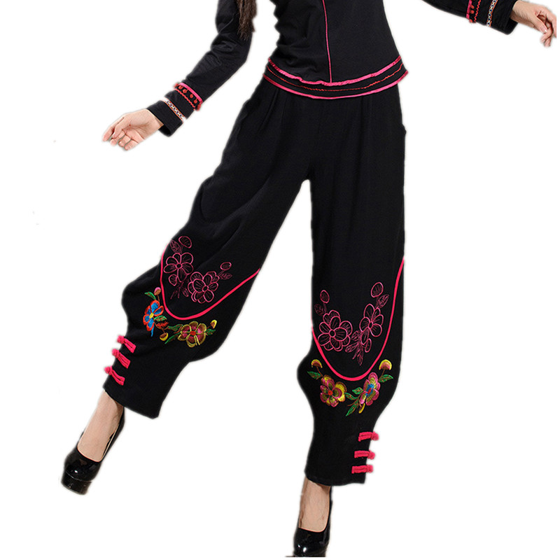 Shop2959028 Store Women Chinese Traditional Embroidery Harem Pants 2016 Black Wide Leg Bloomers Elastic Waist Linen Pants Casual Autumn Trousers
