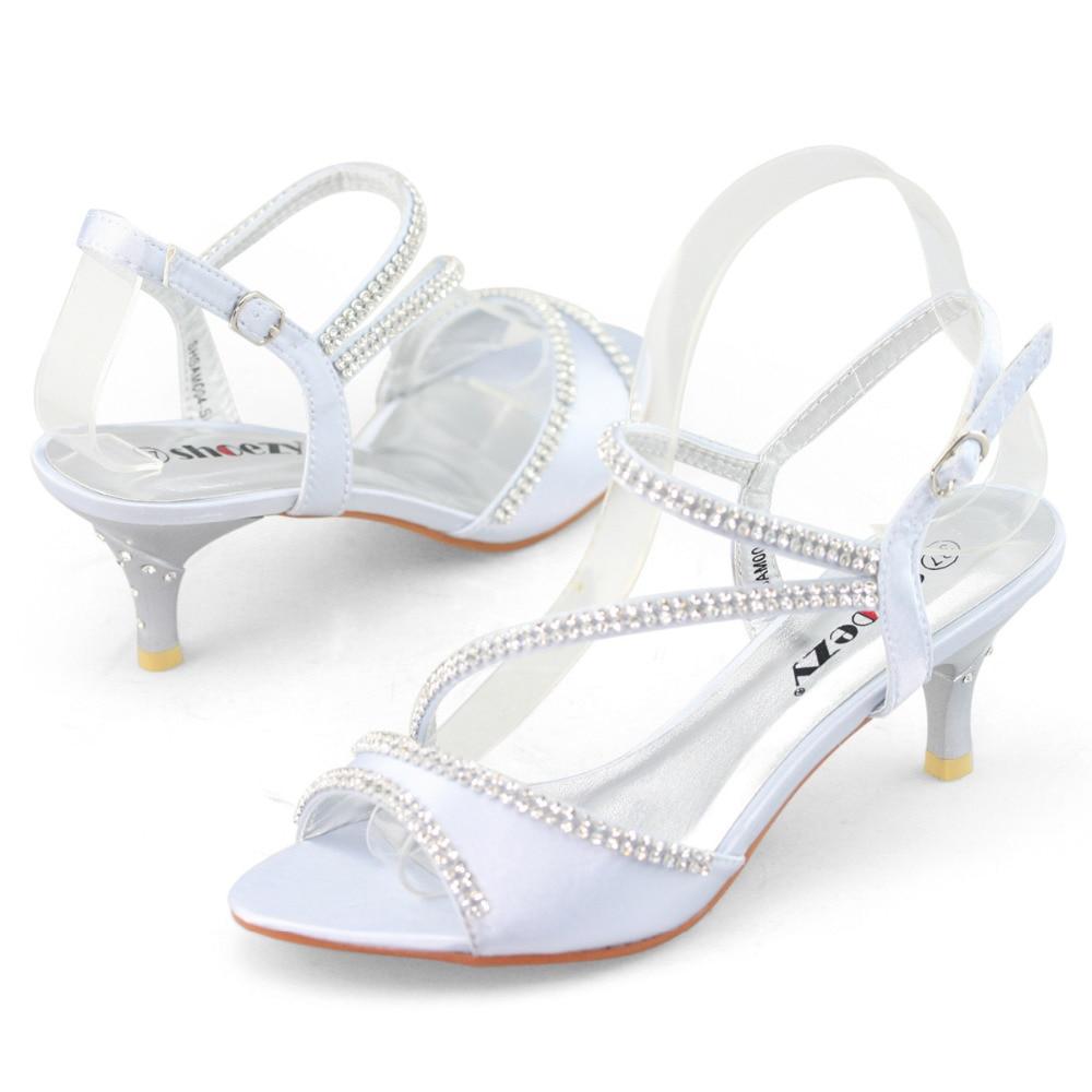 SHOEZY Brand Low Heel Silver Wedding Dress Rhinestone