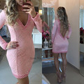 Sexy Ivory Pink Long Sleeve Lace Cocktail Dresses Backless 2017 Pearls Vestidos de Coctel Imported Short Evening Party Dress