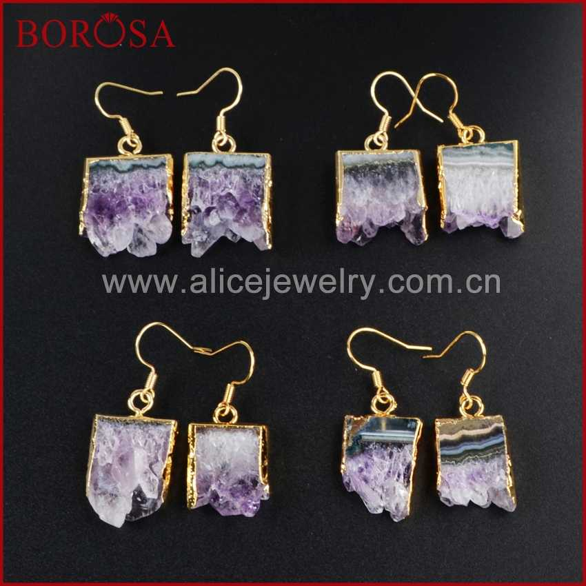 BOROSA Druzy Crystal Dangle Earrings Gold Color Natural Raw Purple Crystal  Stone Druzy Slice Drop Earrings 284726bdfec8