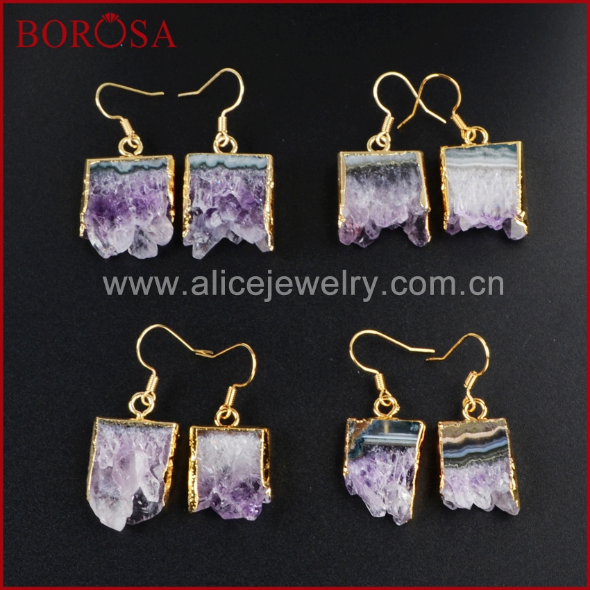 Natural Druzy Crystal Quartz Agate Cluster Stone Geode Hook Dangle Drop Earrings