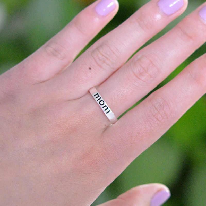 De plata clásico anillo de Color de carta impresión mamá anillo para las mujeres claro de moda anillo de regalo, joyería