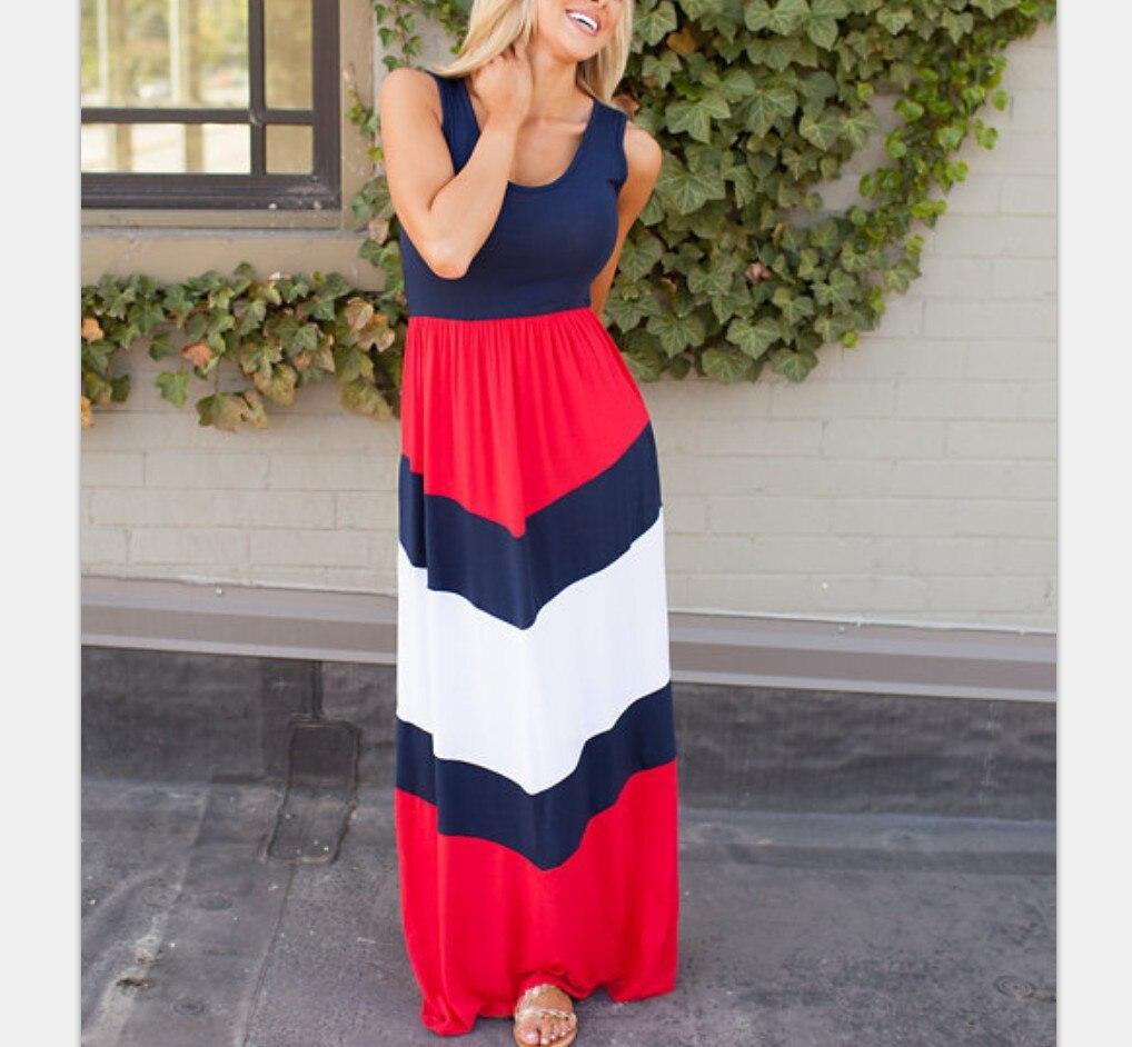 3XL плюс размер высокое эластичное женское летнее платье пляжное Boho Макси длинное платье хлопковое красное платье без рукавов в полоску женс...