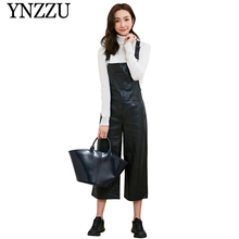 YNZZU Women black PU strap jumpsuit 2019 Autumn Winter chic causal leather Rompers Wide Leg Ankle-length ladies Jumpsuits YJ059