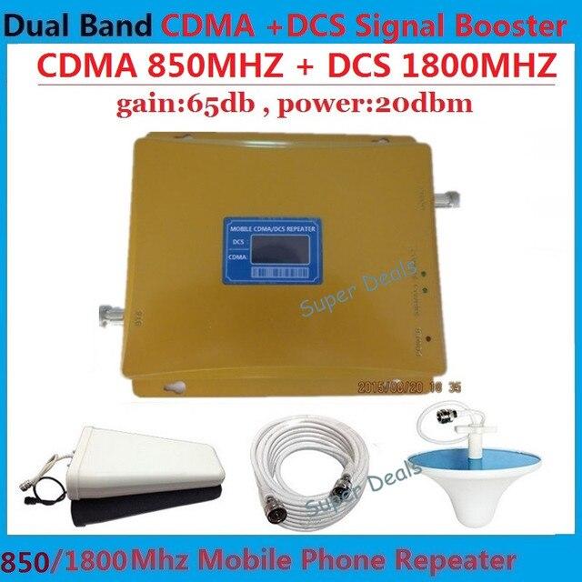 Conjunto completo LCD booster! de banda Dual 3g wifi repetidor celular gsm 850 Mhz/1800 Mhz 4G LTE amplificador de señal de teléfono celular booster 65dB