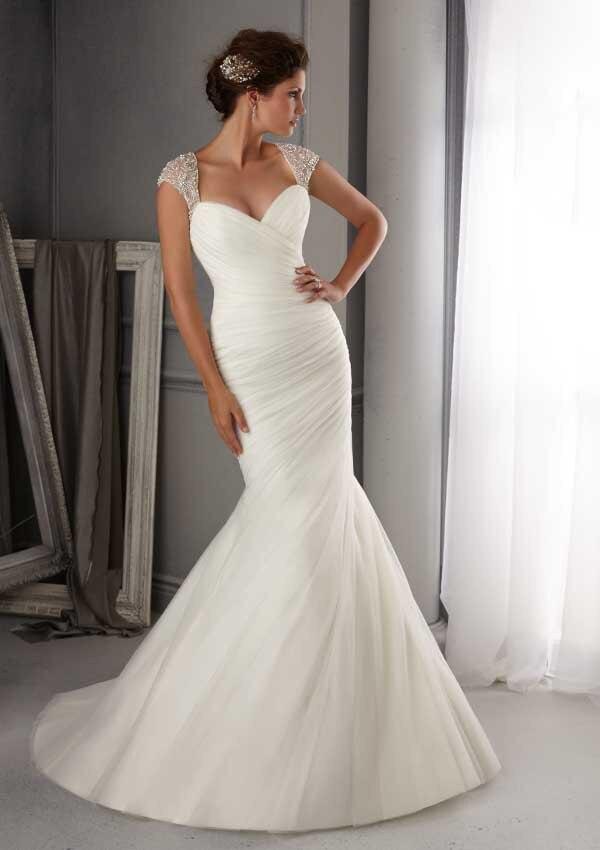Mermaid Floor Length Tulle Bridal Gown Vestido De Noiva 2018 Long Beading Bridal Gown Sweep Train Mother Of The Bride Dresses