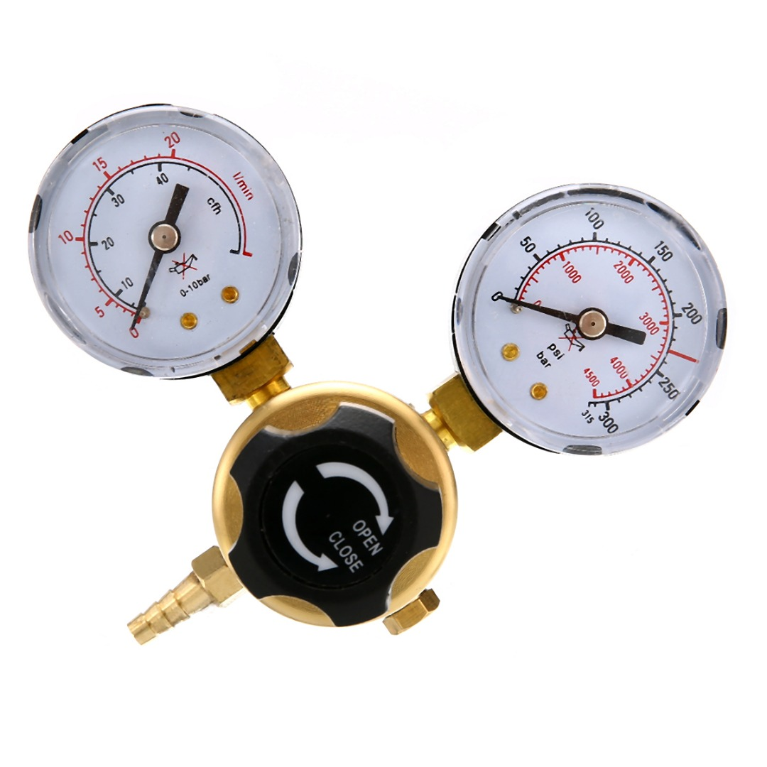 1pc New Argon CO2 Gas Pressure Regulator W21.8x1/14 Thread Mig Tig Welding Flow Meter Gauge 1pc 0 20mpa pressure regulator mig tig welding flow meter gauge w21 8 oulet for argon co2 gas