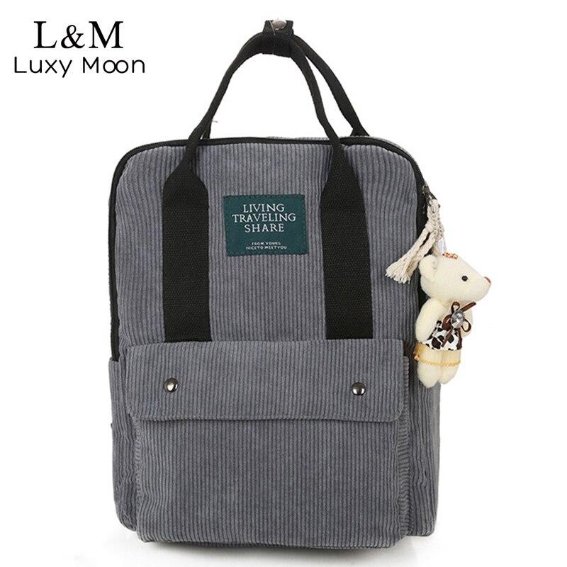 Luxy Moon Girls Corduroy Backpack Women School Bag