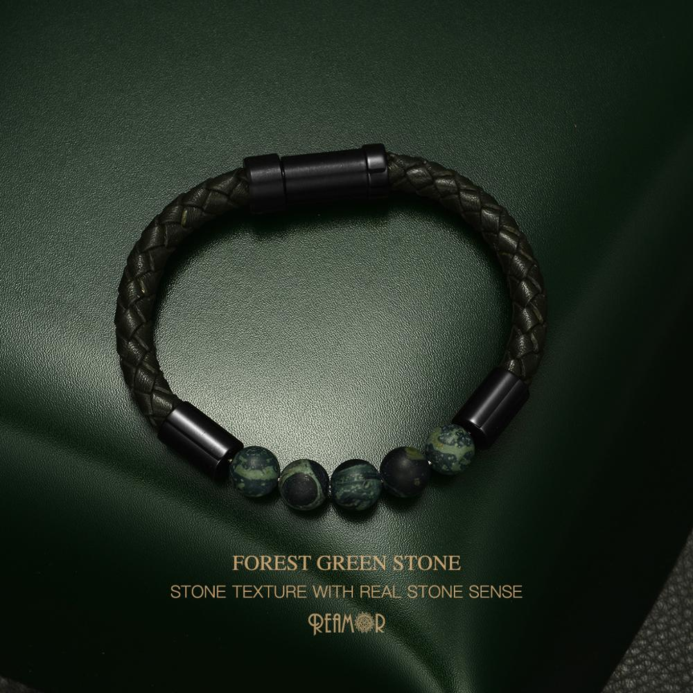 REAMOR Forest Green Natural Stone Texture Bracelets Men Retro Genuine Braided Leather Stainless steel Embedded Clasp Bangles