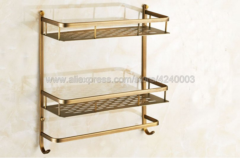 Bathroom Shelves 2 Layer Antique Metal Shower Corner Shelf Wall Mount Shampoo Storage Shelf Rack Bathroom Basket Holder Kba527