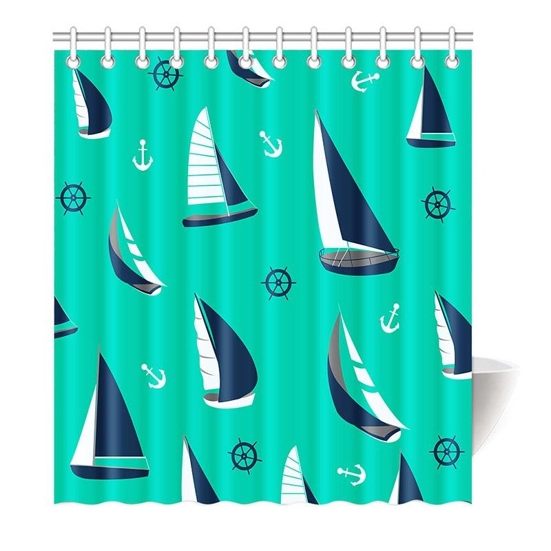 Kids Shower Curtain Cartoon Sea Supplies Orange Family Decor Beach Blue Stars Shells Nautical Tropical Art Diving Mirror Flip In Curtains From Home