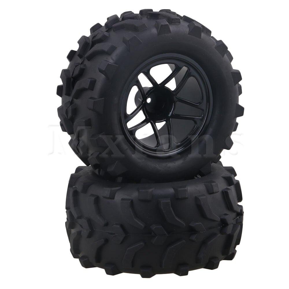 Mxfans 12mm Hex Black Nylon Pentagram Wheel Rims + Arm Pattern Rubber Tyre Tire for RC1:10 Largefoot Car Pack of 2