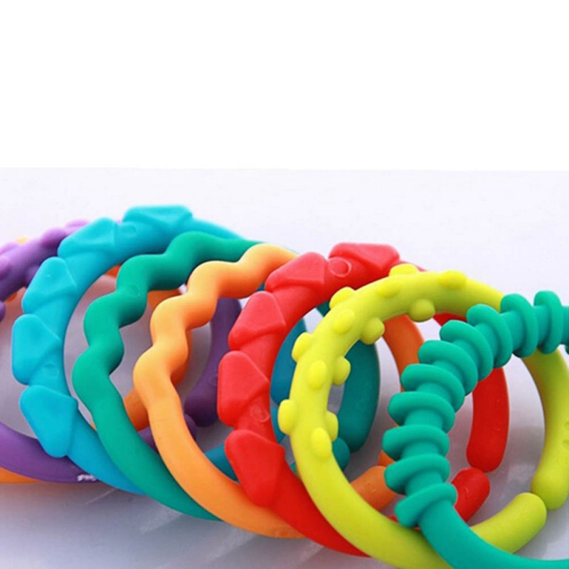 0 12 Months Baby Rattles Toys Rainbow QQ Kids Molars Ring Teether Teddy Chain Clutch Ring Apron in Baby Rattles Mobiles from Toys Hobbies
