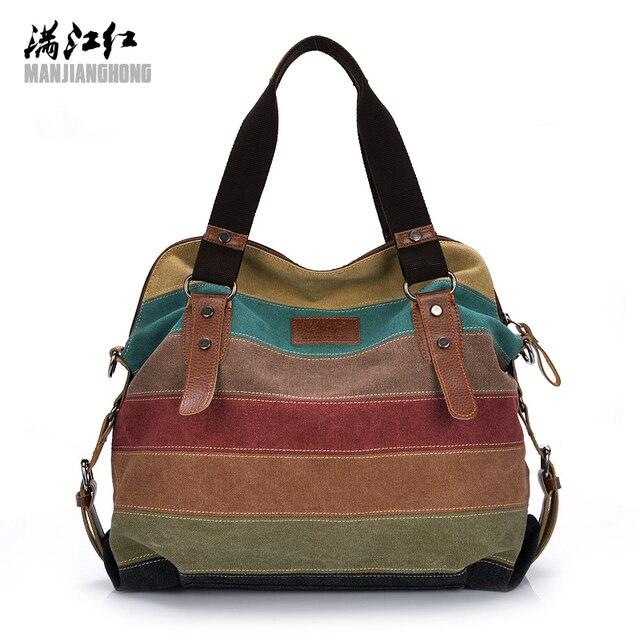 2017 Women Canvas Tote Bag Patchwork Lady Shoulder Bags Fashion Striped Girls  Handbags Sac A Main 3ce8e618e3c6d