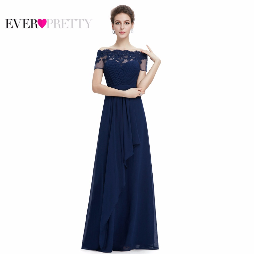 [Clearance Sale] Elegant Evening Dresses Ever Pretty EP08490 Off Shoulder A-Line Short Sleeves Lace Appliques Formal Party Dress ...