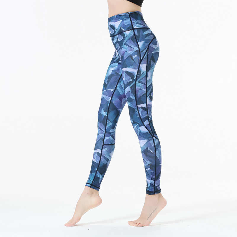 ab0dd529f46dc9 3D Yoga Pants Sexy Tall Waist Stretched Gym Clothes Blue White Printed Women  Skinny Leggings