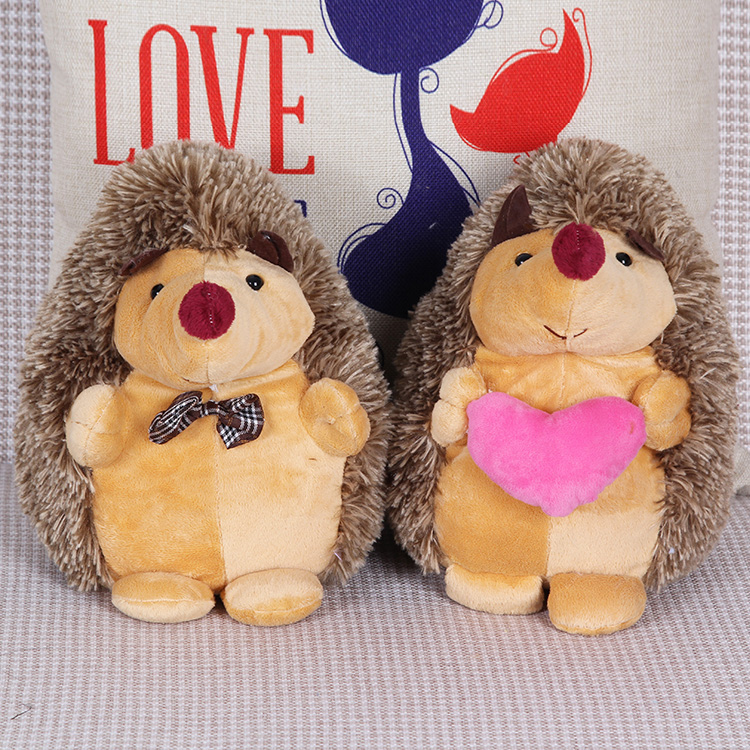 Free shipping 1pair Couple Pedgehog Stuffed animals doll Tie hedgehog+Holding heart hedgehog for best gift
