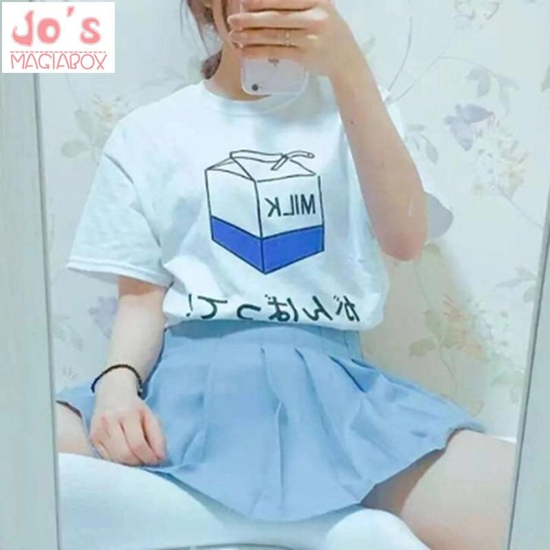 Dopis tištěný roztomilý harajuku dámské krátké tričko Japonsko Milk Peach INU INU Kawaii bavlna karikatura značka tee košile top volná trička
