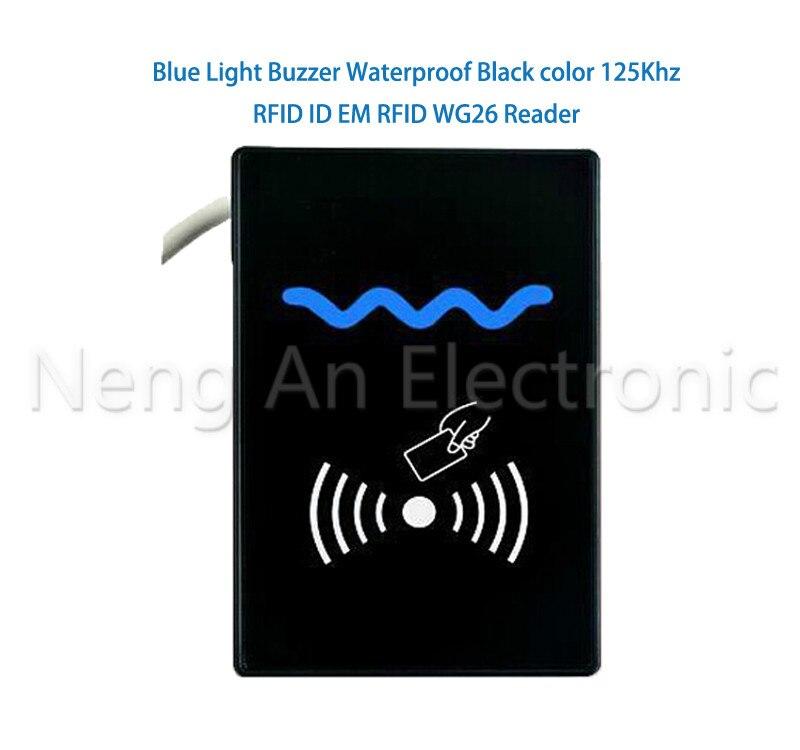 Blue Indicator Light Buzzer Waterproof Black color 125Khz RFID Reader  WG26/34 Access control systemBlue Indicator Light Buzzer Waterproof Black color 125Khz RFID Reader  WG26/34 Access control system