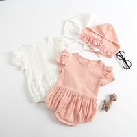 Baby   girl summer   romper   newborn clothes   romper   +cap white pink cute lace   baby     rompers