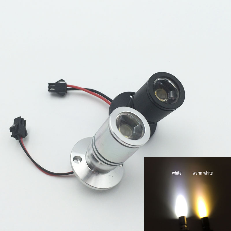 10X Super Mini size Small LED spotlight 1W 3W 110v 220v lamp showcase Jewelry display counter Cabinet Silver or Black aluminum