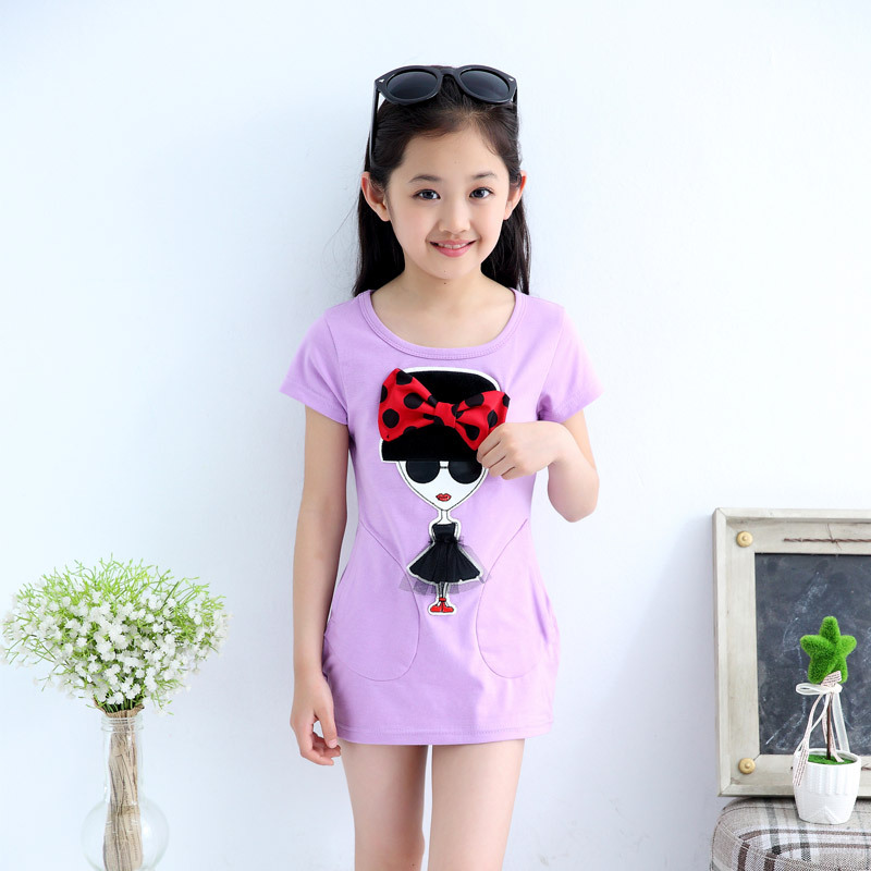 Children's Wear New Summer Girl's Short Sleeve T-shirt Female Korean Style Long Shirt Kids Clothing Pink Purple Rose Red