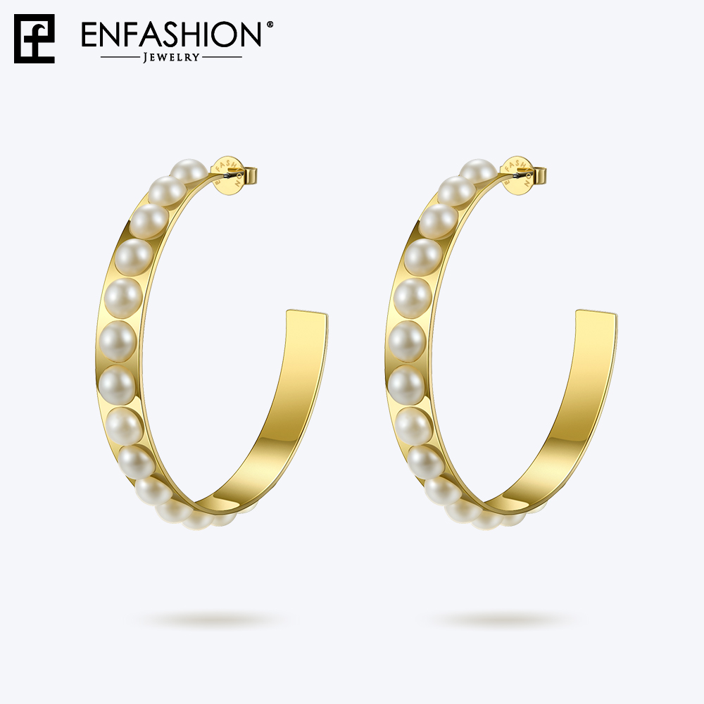 Enfashion Big Pearl Hoop Earrings For Women Stainless Steel Jewelry Circle Earring Hoops Round Earings Orecchini Cerchio 181061 colorful cubic zirconia hoop earring fashion jewelry for women multi color stone aaa cz circle hoop earrings for party jewelry