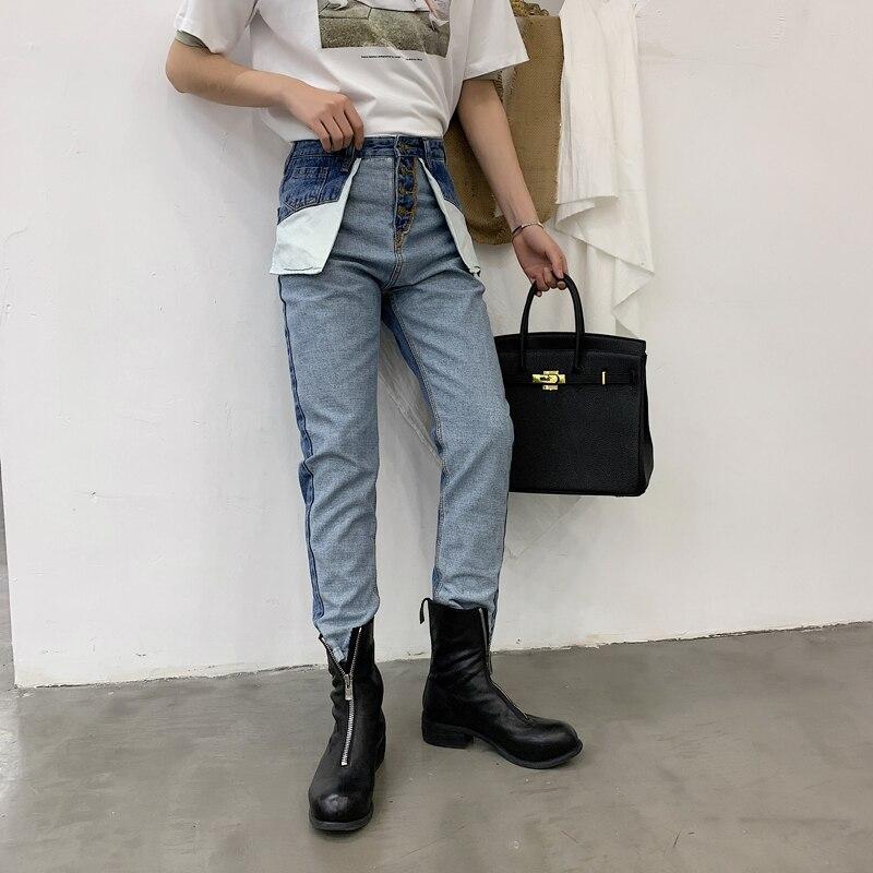 Taille Usure Denim Pantalon Hip Mâle Streetwear Casual Haute Hommes Harem Pour Mode Nouveau Jeans N775 Hop Inverse Rétro OEYc1