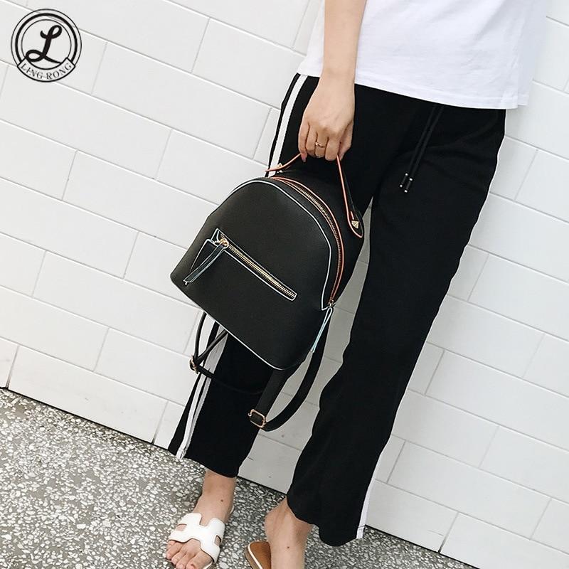 Korean PU Backpacks for Women Preppy Style Women Mini School Bags for Teenagers Fashion Small Schoolbags