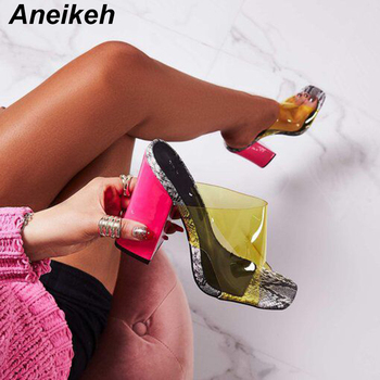 Aneikeh 2020 New PVC Jelly Sandals Crystal Open Toed Sexy Thin Heels Women Transparent Heel Slippers Pumps 41 42