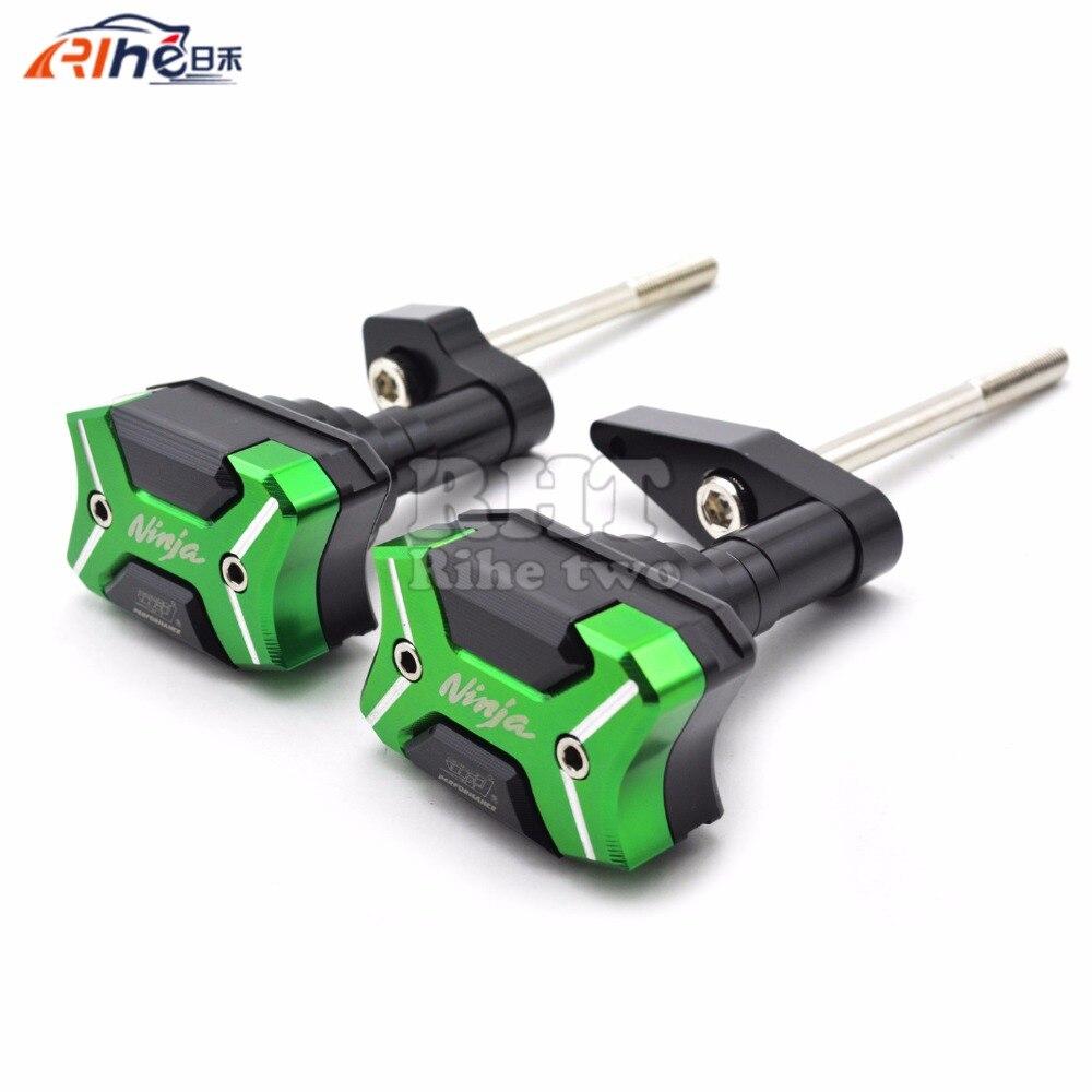 WithNinjalogo Motorcycle Frame Crash Pads Engine Case Sliders Protector For Kawasaki ER-6N ER6N ER 6N 2012 2013 2014 2015 2016