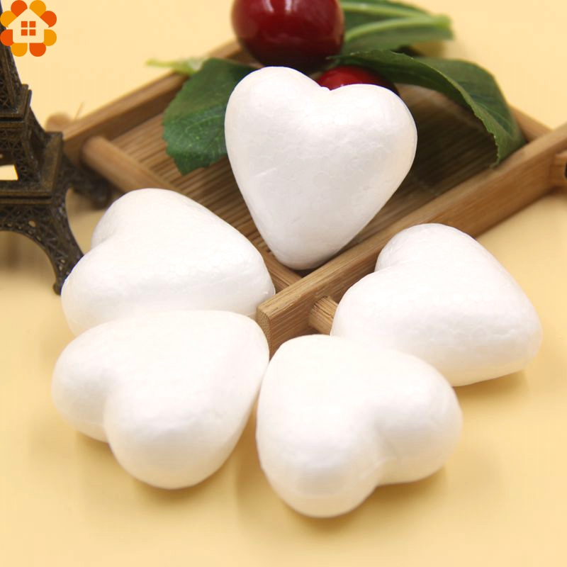 50PCS 40MM White Foam Heart Modelling Polystyrene Styrofoam Ball DIY Christmas Ornaments Gifts Wedding Decoration Supplies