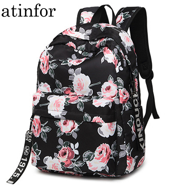 03209b59f588 Fashion Water Resistant Nylon Women Backpack Flower Printing Female School  Rucksack Girls Daily College Laptop Bagpack