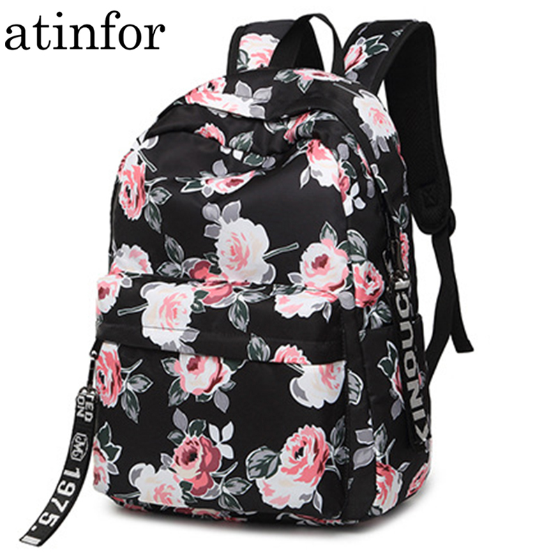 Fashion Water Resistant Nylon Women Backpack Flower Printing Female School Rucksack Girls Daily College Laptop Bagpack
