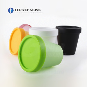 Image 3 - 50PCS*200G Cream Jar Empty Cosmetic Container PP Plastic Packing Sample Refillable Canister Facial Tins Pot Cans Screw Cap Inner