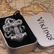 Dropshiping new arrival stainless steel Viking Goat Mjolnir rune thor hammer pendant necklace men gift