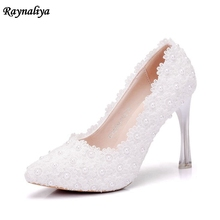 Handmade 11 CM Women Fashion Sweet White Flower Lace High Heels Pearls Rhinestone Wedding Shoes Bride Dress Shoes XY-A0059 sales promotion lace pearls brides wedding shoes plus size round toes lady sweet lace evening party white dress shoes