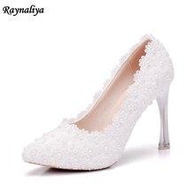 Handmade 11 CM Women Fashion Sweet White Flower Lace High Heels Pearls Rhinestone Wedding Shoes Bride Dress Shoes XY-A0059