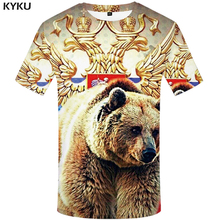 KYKU Brand Russia T Shirt Men Flag Bear 3d T-shirt Mens Clothes Fitness Tshirt Rock Tshirts Summer Clothing